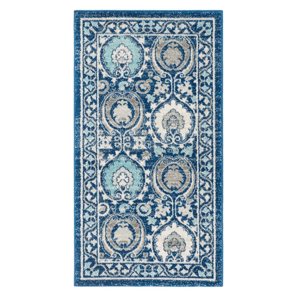 22X4 Medallion Accent Rug Blue/Ivory - Safavieh Promos