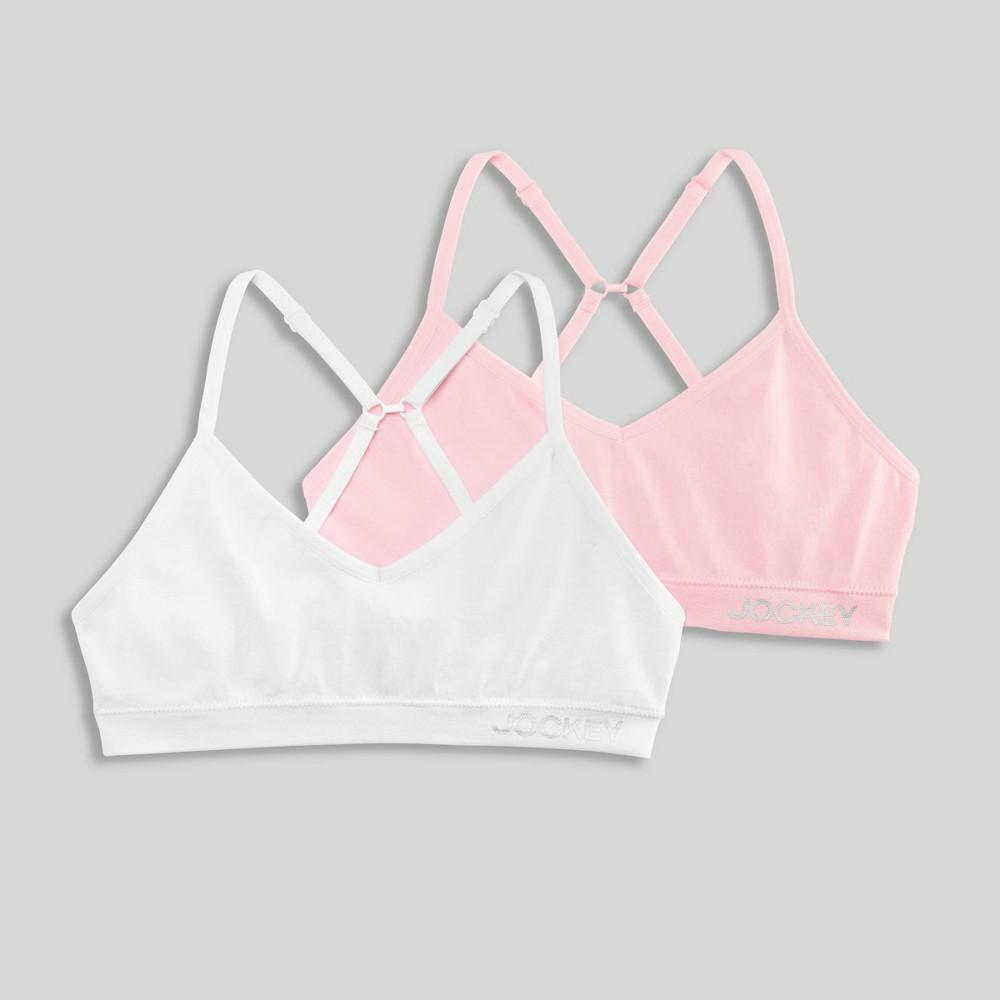 Jockey Generation 8482 Girls 39 2pk Seamfree Bralette White Pink M