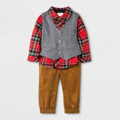 Baby Boys' 3pc Plaid Vest/Cord Top & Bottom Set - Cat & Jack™ Red/Brown/Gray 0-3M