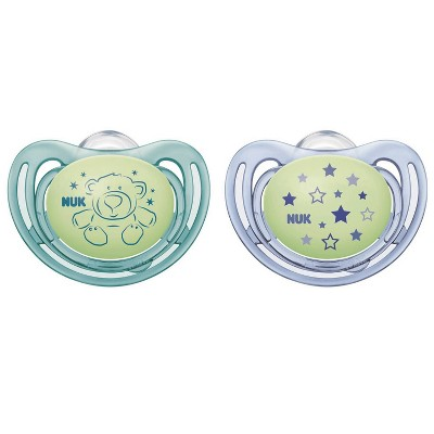 NUK Airflow Glow-in-the-Dark Pacifiers, 6-18M - Boy - 2pk