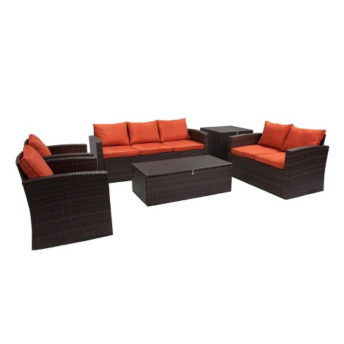 6pc Rio All-Weather Wicker Conversation set with Storage - Thy-Hom - image 1 of 4