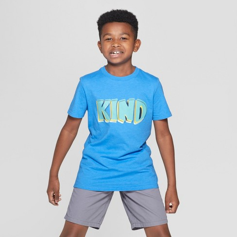 Boys' Kind Short Sleeve Graphic T-Shirt - Cat & Jack™ Blue - image 1 of 3