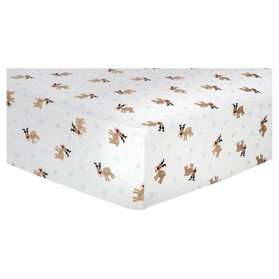 Trend Lab Deluxe Flannel Fitted Crib Sheet - Reindeer