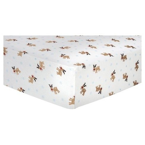 Trend Lab Deluxe Flannel Fitted Crib Sheet - Reindeer - image 1 of 3