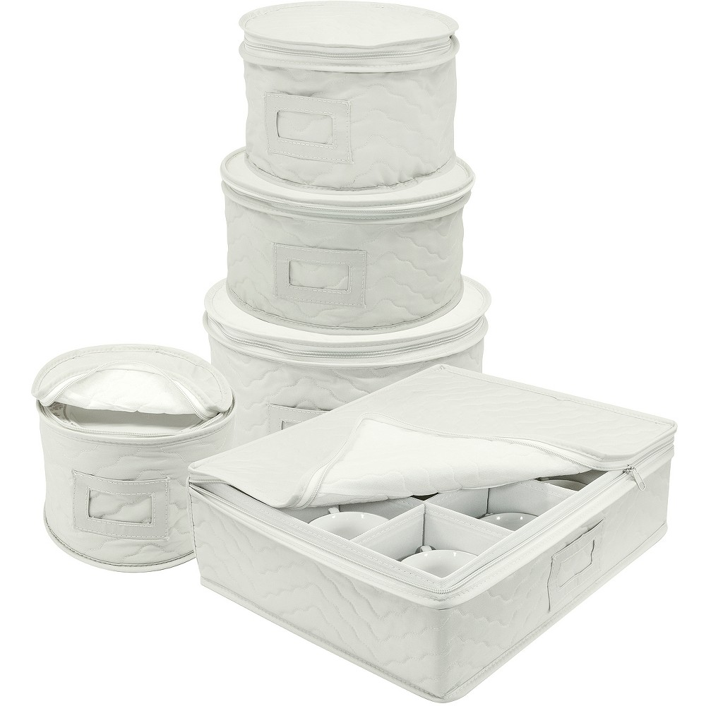 Sorbus Dish Storage Set 5pc White, Bella White