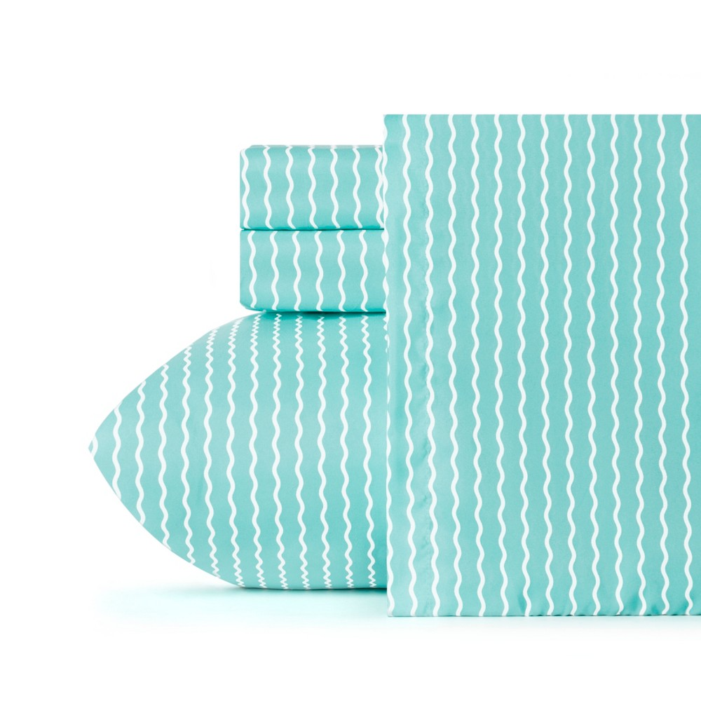 Queen Serpentine Striped Microfiber Sheet Set Robbin's Egg Blue - Crayola
