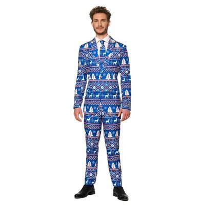 Men's Nordic Suit Christmas Costume Blue