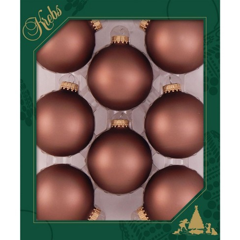 """Christmas by Krebs 8ct Coconut Brown Matte Glass Christmas Ball Ornaments 2.5"""" (67mm) - image 1 of 1"""