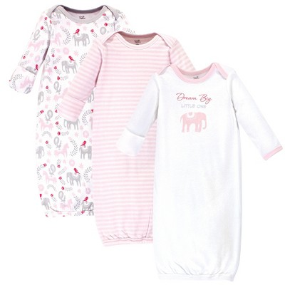 Touched by Nature Baby Girl Organic Cotton Long-Sleeve Gowns 3pk, Elephant, Preemie