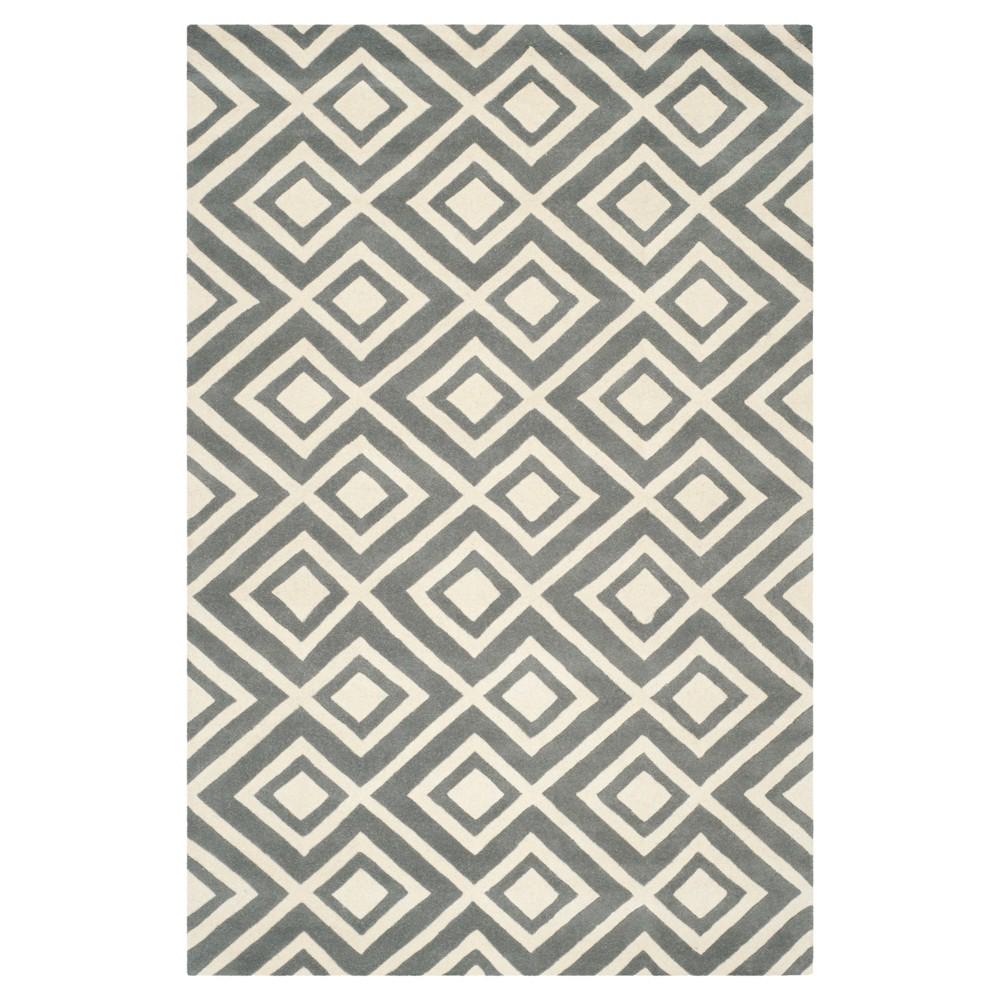 5'X8' Geometric Area Rug Dark Gray/Ivory - Safavieh
