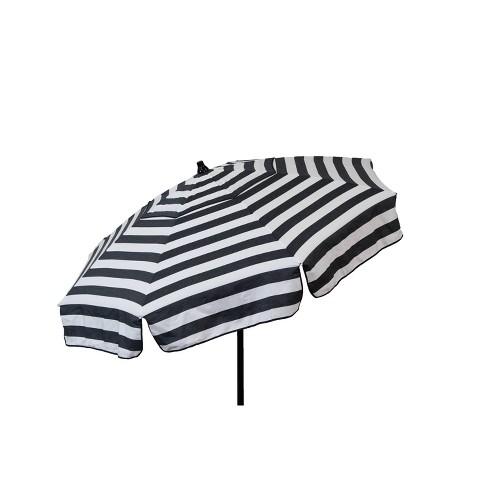Parasol 6' Italian Aluminum Collar Tilt Beach Umbrella - Black/White Stripe - image 1 of 4