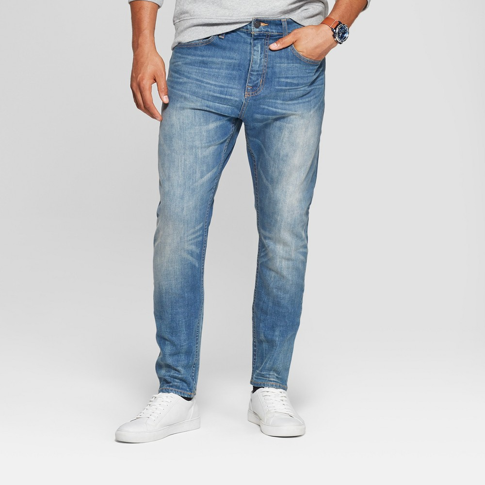 Men's Tapered Fit Jeans - Goodfellow & Co Medium Vintage 38x34, Blue