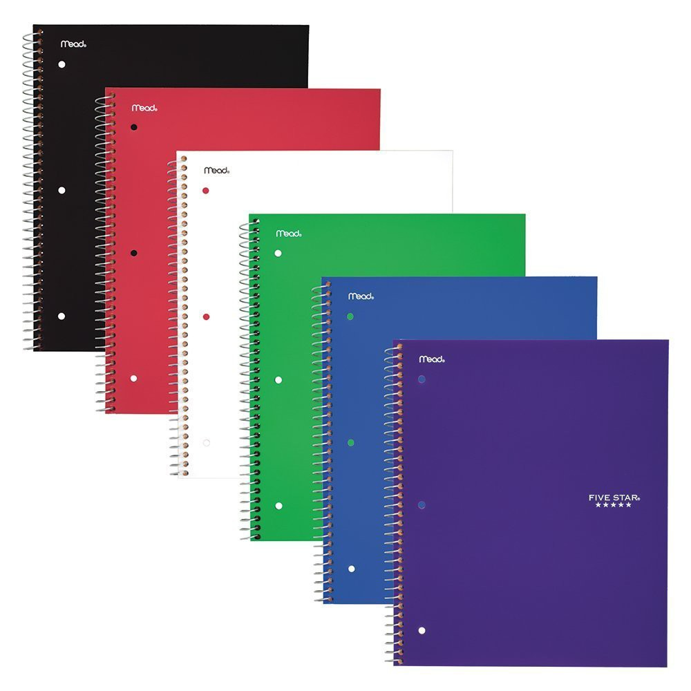 "Image of ""6ct 1 Subject Spiral Notebook Wide Ruled 10.5"""" x 8"""" Classic Color - Five Star"""