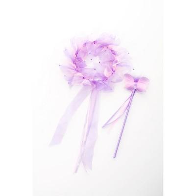 Little Adventures Girls' Fairy Halo & Wand - Light Pink/Lilac
