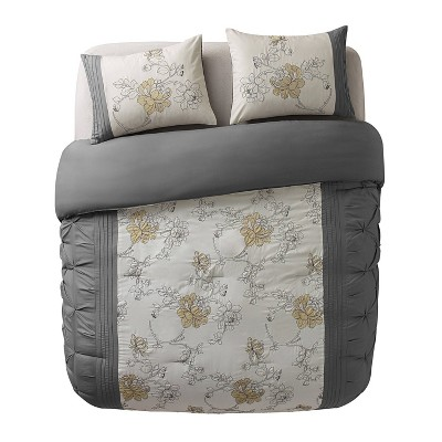 Gray Alexis Comforter Set (King)- VCNY