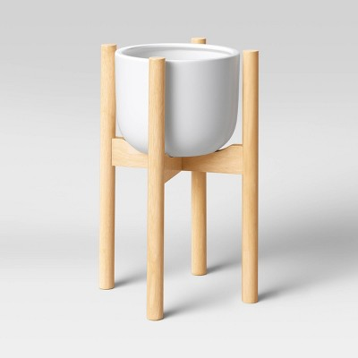 Ceramic Planter with Wood Stand White - Project 62™