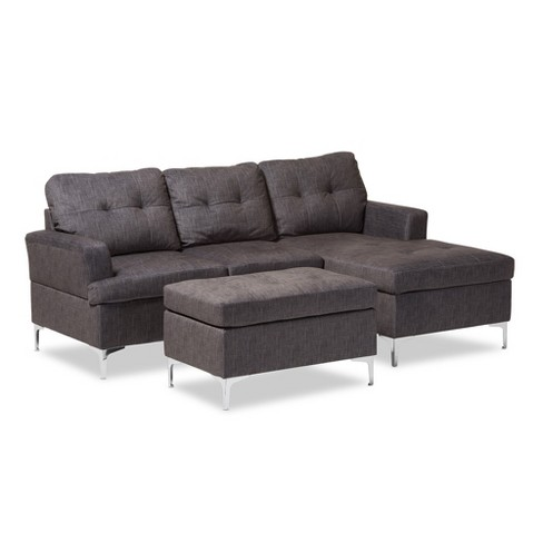 Riley Modern And Contemporary Fabric Upholstered 3 Piece Sectional Sofa With Ottoman Set Gray Baxton Studio