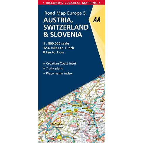 AA Road Map Europe Austria, Switzerland & Slovenia - (Paperback ...