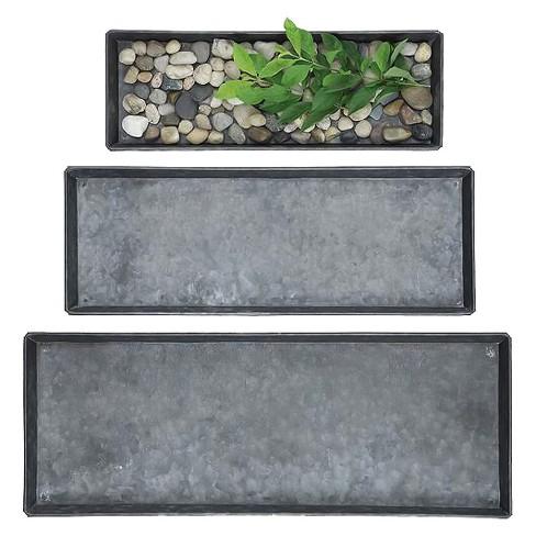Decorative Zinc Trays Gray/Black 3pk - 3R Studios - image 1 of 3