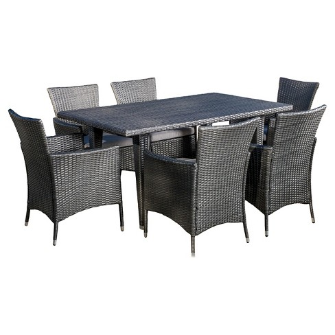 Malta 7pc Wicker Patio Dining Set with Cushions - Gray - Christopher Knight Home