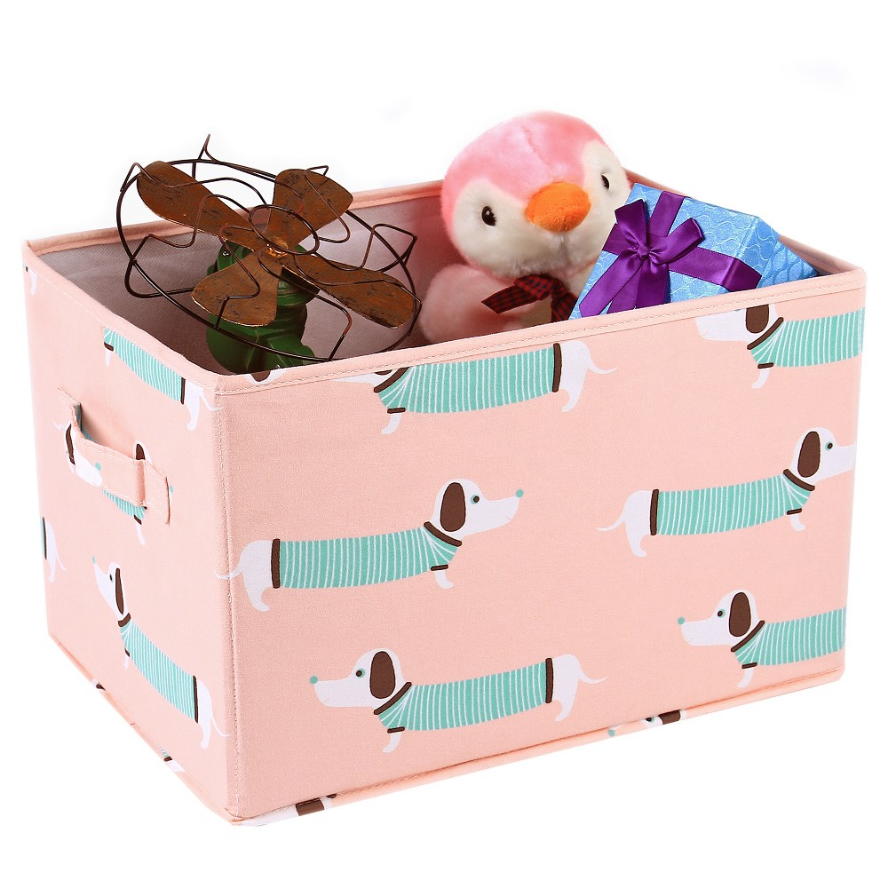 """Image of """"3pc 15""""""""x13"""""""" Pink Sausage Dog Toy Storage Container Set - Lush Décor"""""""
