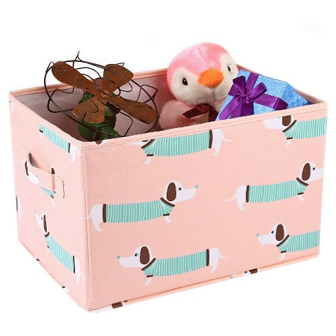 "Pink Sausage Dog Toy Storage Container Set (15""x13"") 3pc - Lush Decor - image 1 of 4"