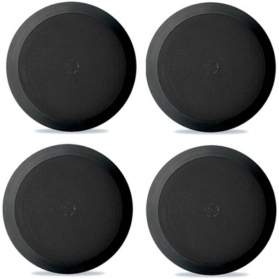 4) NEW Pyle PDIC81RDBK 250W 8 Inch Flush In-Wall In-Ceiling Black Speakers Four