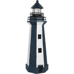 "36"" Solar LED Garden Lighthouse - Blue Stripe - Sunnydaze Decor"