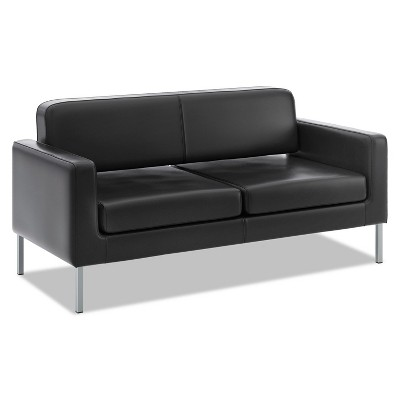 Basyx VL888 Series Reception Seating Sofa 67 x 28 x 30 1/2 Black SofThread™ Leather VL888SB11