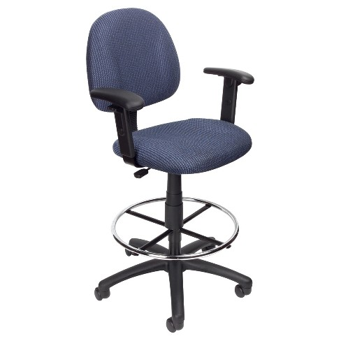 Strange Drafting Stool With Footring And Adjustable Arms Blue Boss Office Products Andrewgaddart Wooden Chair Designs For Living Room Andrewgaddartcom