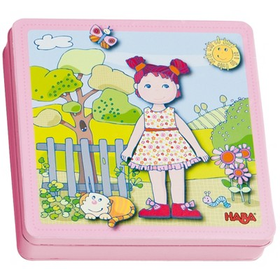 HABA Dress-up Doll Lilli Magnetic Game Box in Sturdy Metal Tin