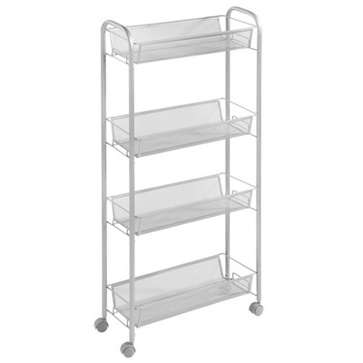 mDesign Portable Metal Rolling Laundry Cart