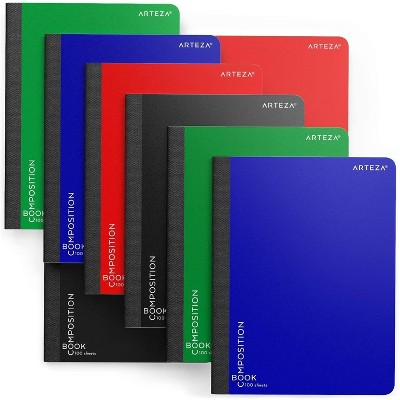 Arteza Composition Notebooks for School, College Ruled, 100 Sheets of Paper - 8 Pack (ARTZ-9124)