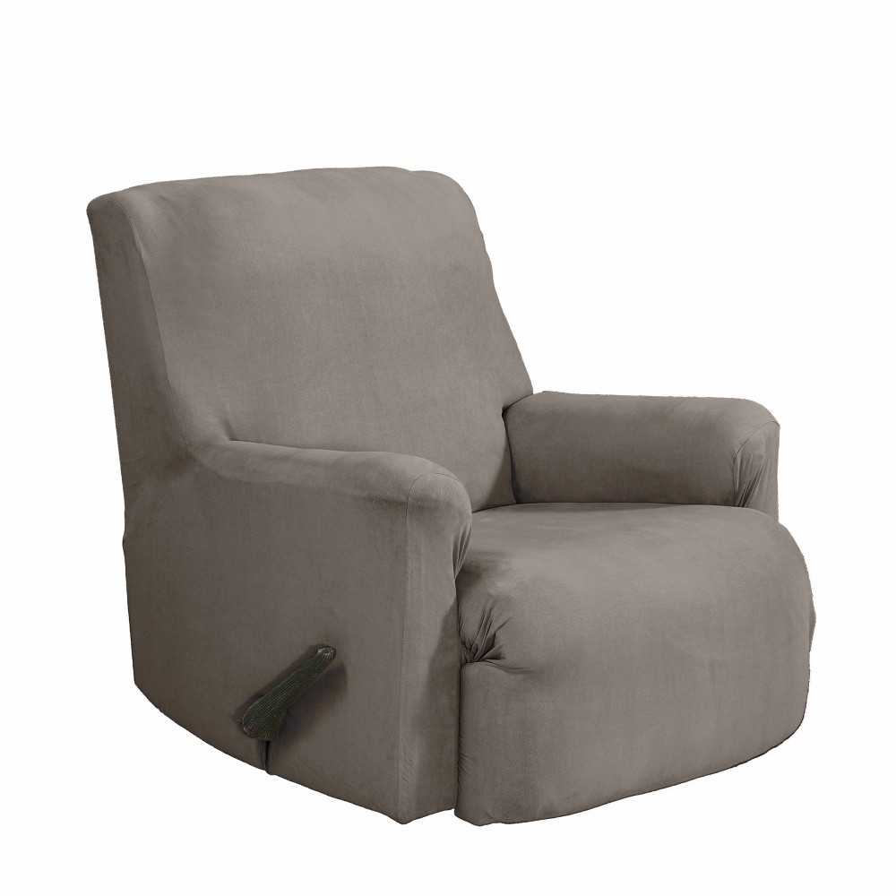 Image of 2pc Recliner Stretch Fit Slipcover Gray - Serta