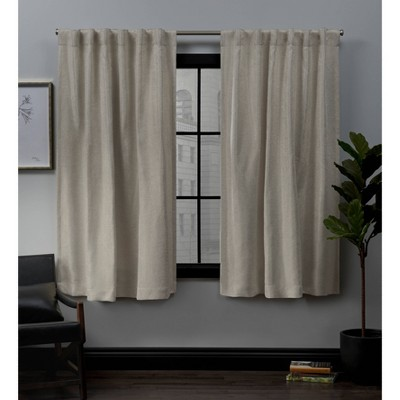 52 x63  Lancaster Back Tab Blackout Window Curtain Panels Neutral - Exclusive Home