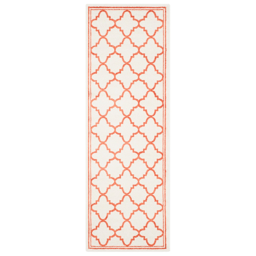 Camembert 2'3 X 9' Runner Outdoor Patio Rug - Beige / Orange - Safavieh