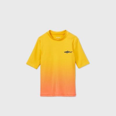Boys' Short Sleeve Ombre Shark Chest Rash Guard Swim Shirt - Cat & Jack™ Yellow/Orange