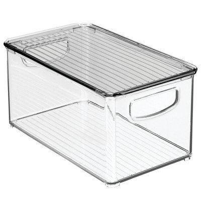 mDesign Plastic Kitchen Food Storage Bin with Handles, Lid, 2 Pack
