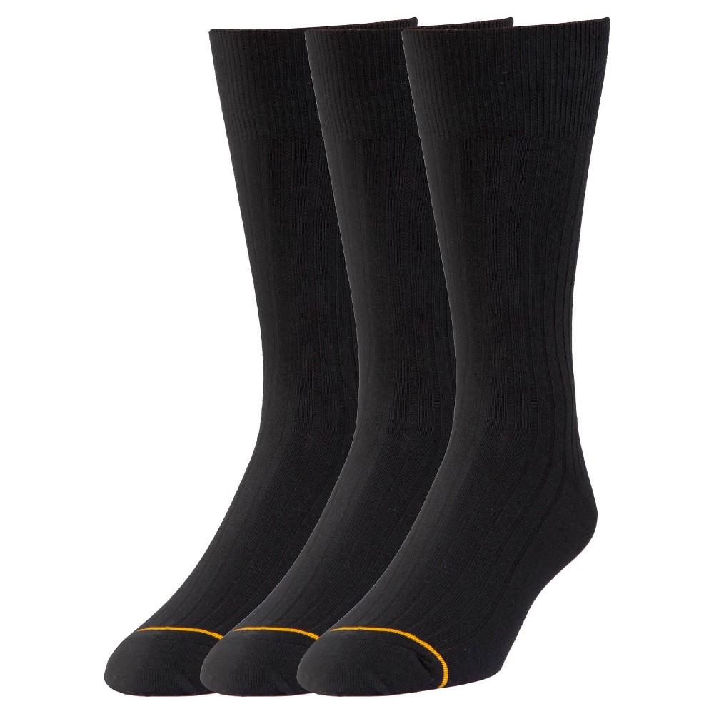 Men's Big & Tall Signature Gold 3pk Dress Socks Bamboo Rayon Black Crew 12-15, Size: 13-16