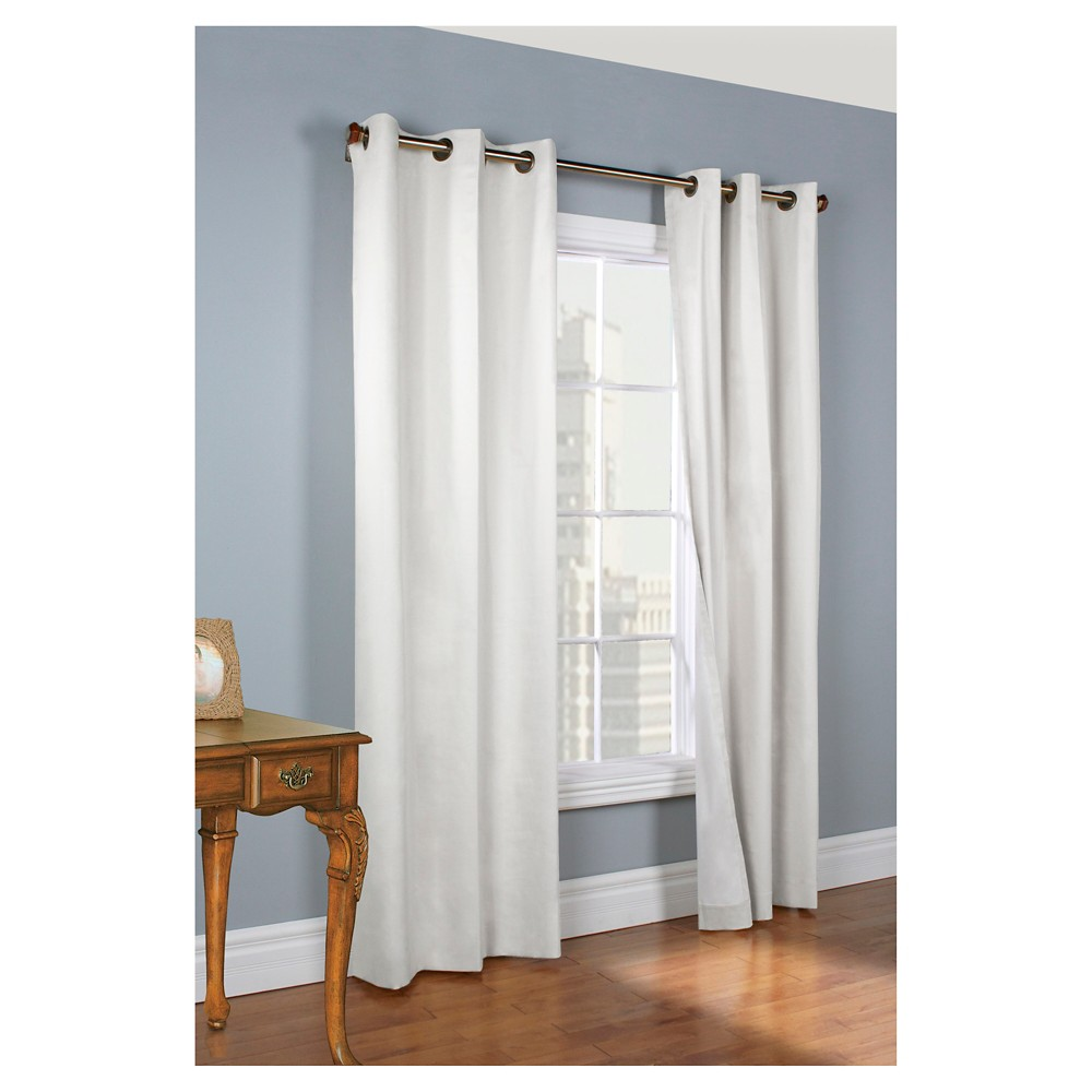 "Image of ""72""""x80"""" Set of 2 Weathermate Grommet Top Room Darkening Curtain Panel White - Thermalogic"""