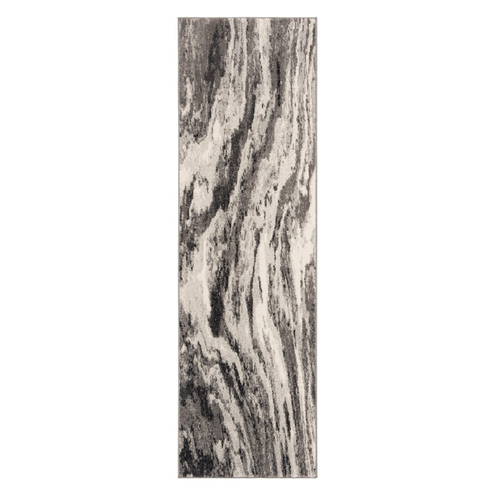 2'2X7' Marble Loomed Runner Ivory/Gray - Safavieh, White