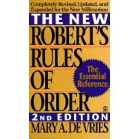The New Robert's Rules of Order - 2 Edition by  Mary A de Vries (Paperback) - image 1 of 1