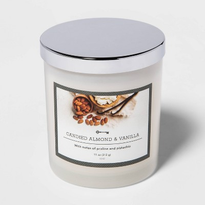 11oz Lidded Milky Glass Jar Candied Almond and Vanilla Candle - Threshold™