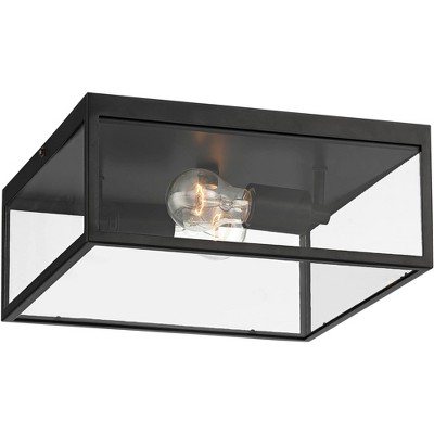 """John Timberland Modern Outdoor Ceiling Light Fixture Matte Black 12"""" Clear Glass Panels Square Exterior House Porch Patio Outside"""