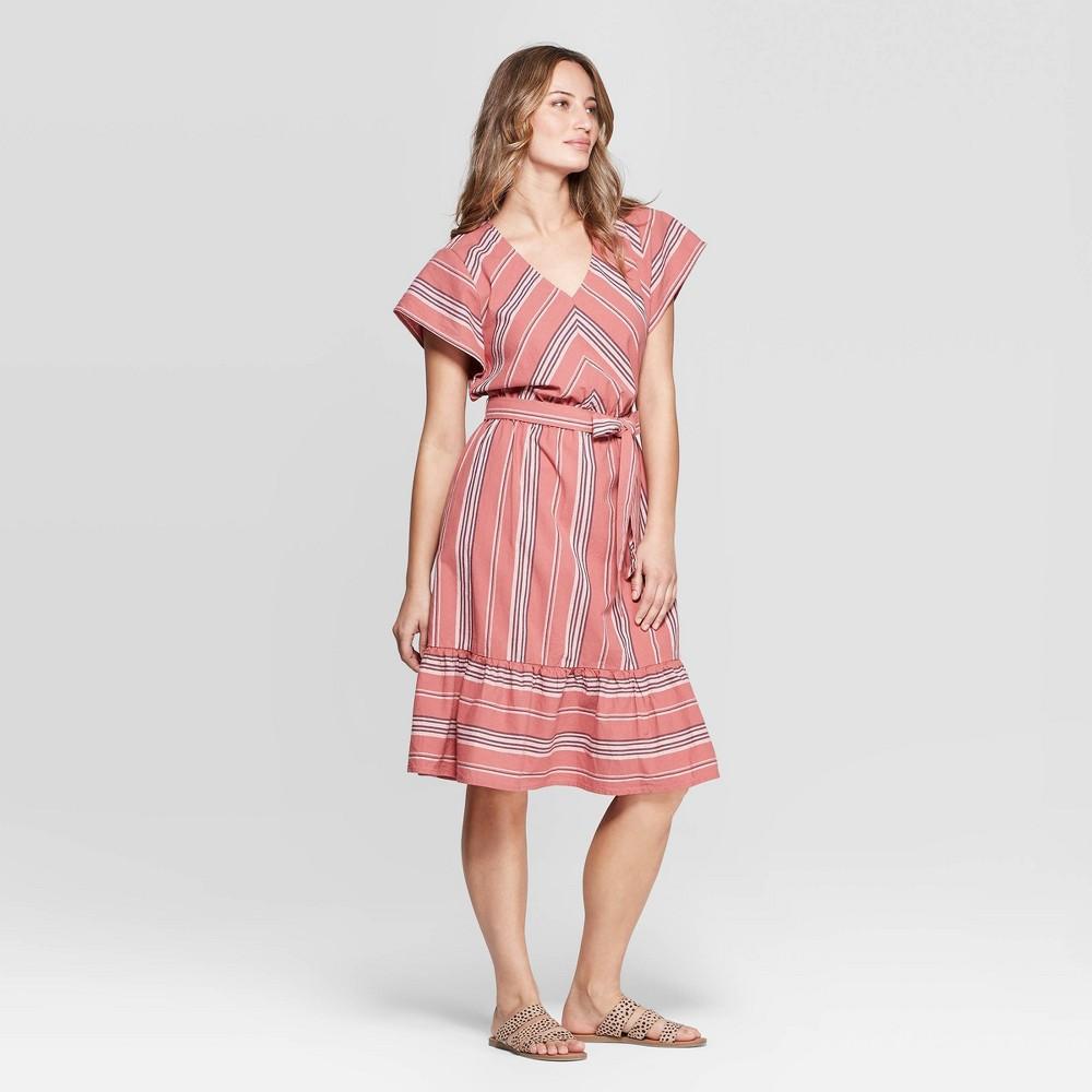 Women's Short Sleeve V-Neck Dolman Striped Dress - Universal Thread Rose M, Pink