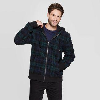 Mens Plaid Sherpa Faux Fur Jacket - Goodfellow & Co™ Black S