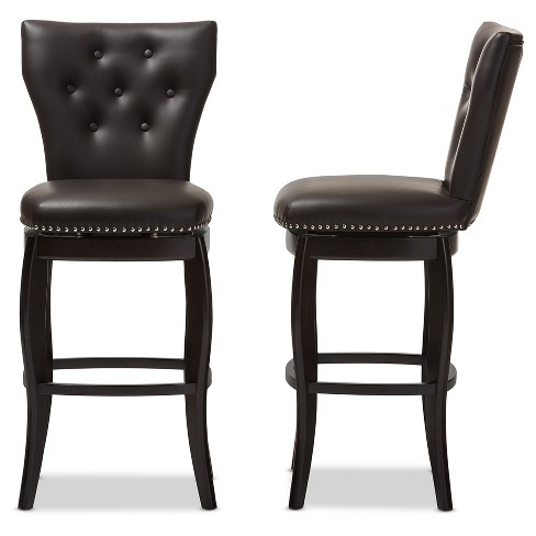 Incredible 29 Leonice Modern And Contemporary Faux Leather Upholstered Button Tufted Swivel Bar Stool Dark Brown Baxton Studio Pabps2019 Chair Design Images Pabps2019Com