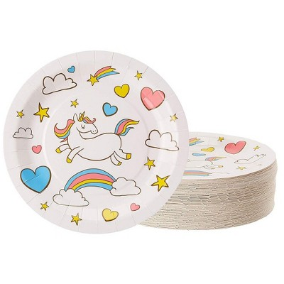 """Juvale 80-Count Disposable Paper Plates, Unicorn and Rainbow Illustrations Design, 9"""""""