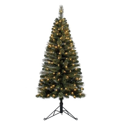 Home Heritage Cashmere 5 Foot Artificial Corner Christmas Tree with LED Lights