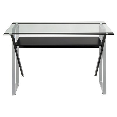 Genial Colorado Metal And Glass Laptop   Writing Desk   Black/ Silver/ Clear Glass  : Target